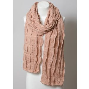 Blush Pink Scalloped Scarf Women Knit Ruffle Wrap